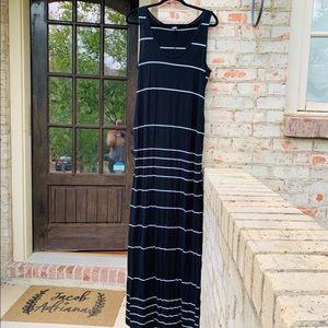 Old Navy Black White Horizontal Stripe Maxi Dress